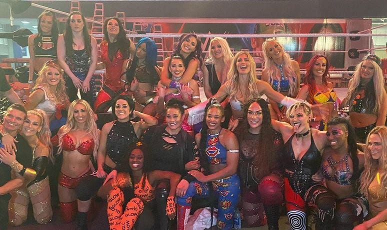 Group Photo From The WWE Royal Rumble Rehearsals