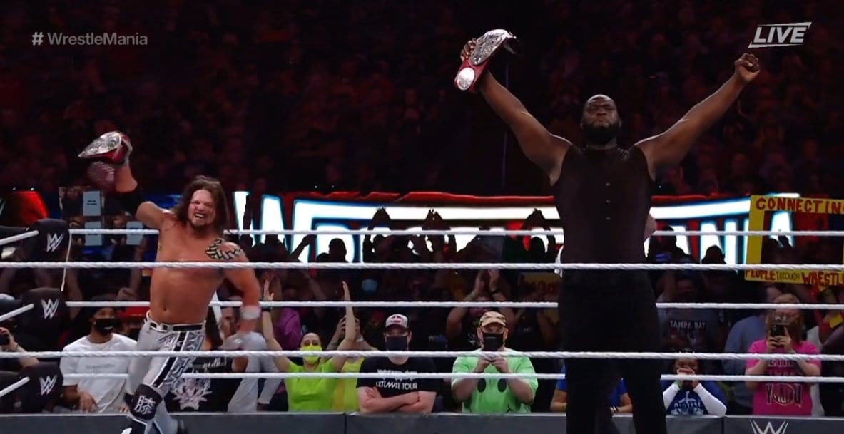 WrestleMania 37 Night One: Omos And AJ Styles Vs. The New Day (RAW Tag Team Titles Match)