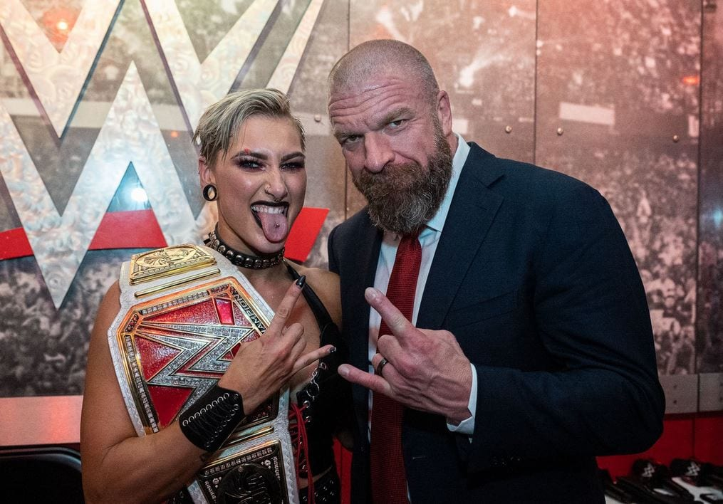 Photos: Triple H Congratulates New Champions From WrestleMania 37 Night Two