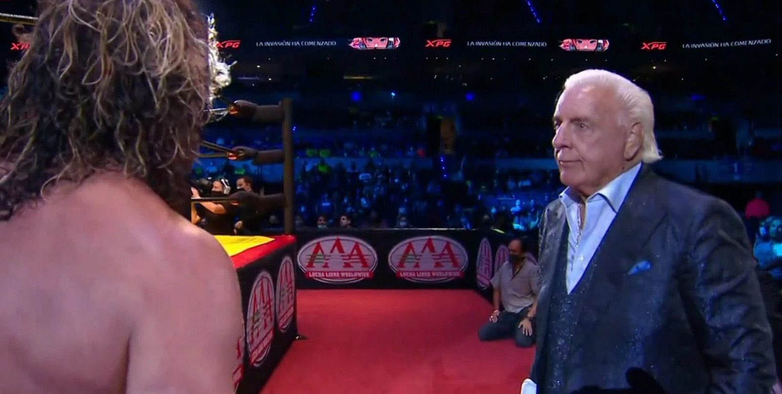 WWE Legend Ric Flair And Charlotte Flair Attend AAA TripleMania 37